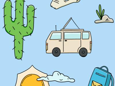 Adventure Pack icons camping ashley santoro cute stickers adventure photoshop illustration