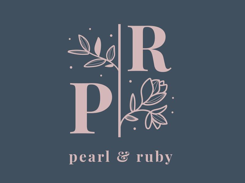 Pearl & Ruby logo design branding identity logodesign feminine floral vector logo