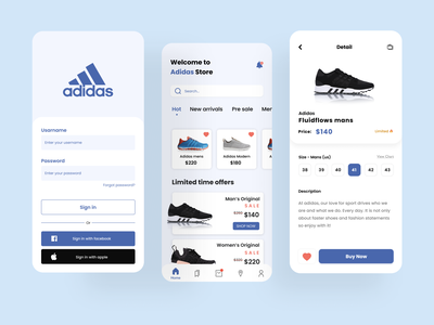 Adidas Shop UI clean design clean ui clean shoes app shoes shoe adidas originals adidas mobile minimal app design ux ui