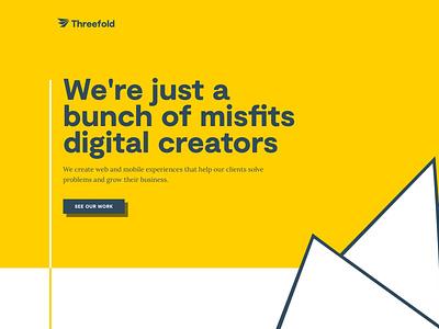 Homepage ideas for Threefold typography logo vector branding minimal flat website concept web design ux ui simple design homepage landing page website