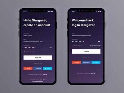 Stargazers iOS App ux ui simple login mobile minimal iphone ios11 ios clean signup app
