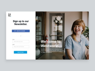 Westword Promo log in sign up facebook website design promo