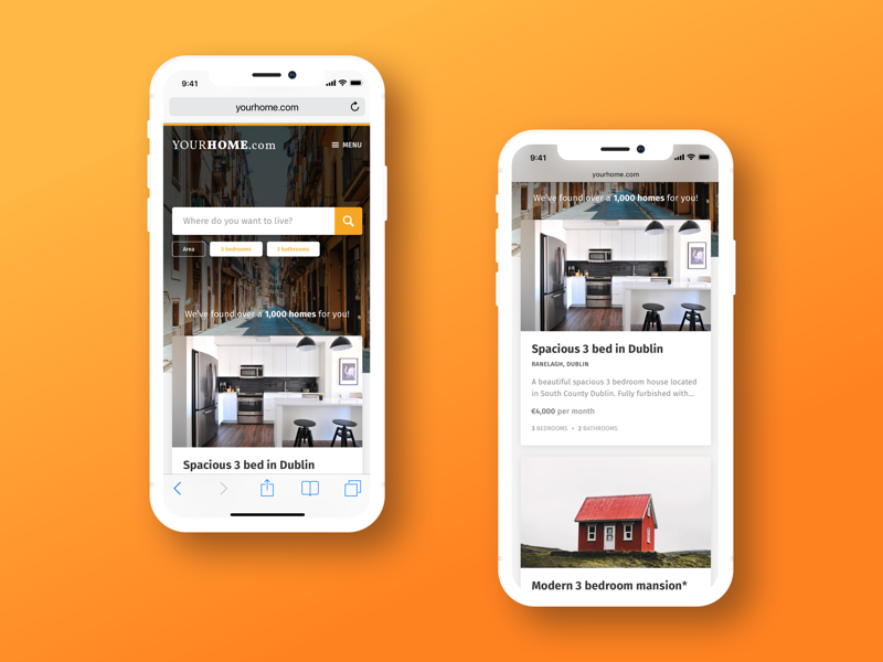"""YourHome.com"" Apartment Finder home apartment filters iphone x iphone ios ui website mobile search list flat"