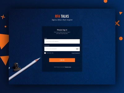 RFA Talks Log In ux login ui website simple list flat