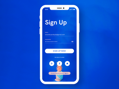 Daily UI :: 001 ui design daily ui sign up design challenge dailyui app mobile iphone x iphone