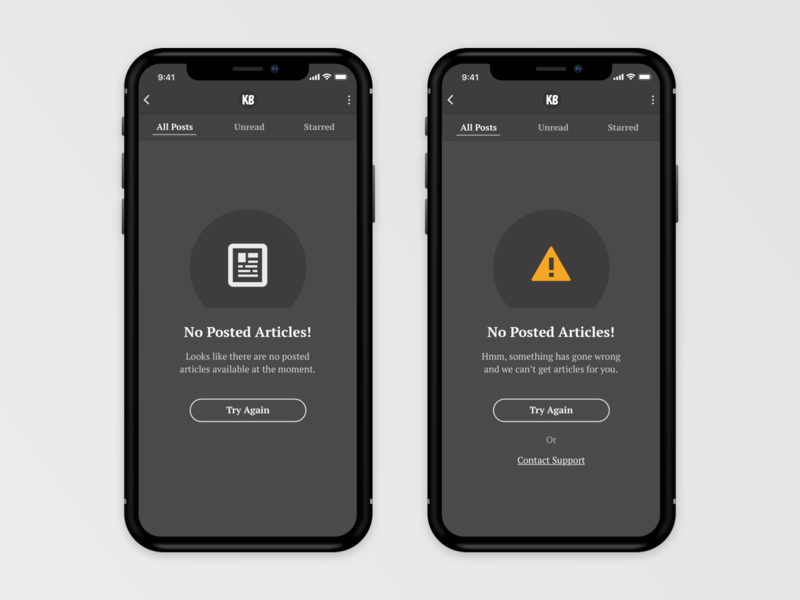 App Empty States design iphone ios11 mobile minimal dark ui empty state empty page error message clean iphone x ux app