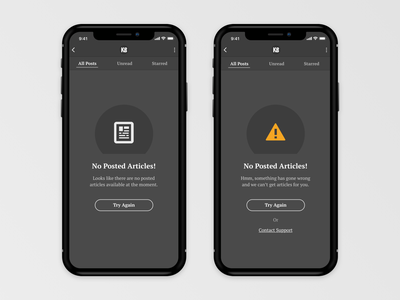 App Empty States design iphone ios11 mobile minimal dark ui empty state empty page error message clean iphone x ux app