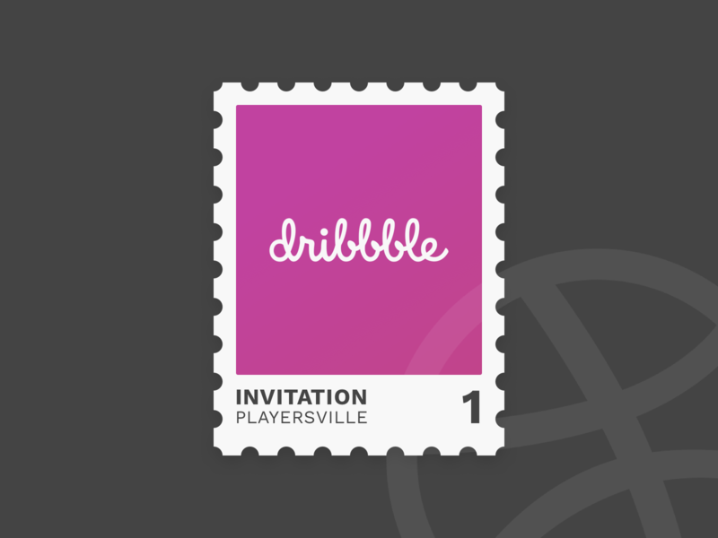 One Dribbble Invite draft day drafting illustration dribbble stamp player invite giveaway invite invitation draft