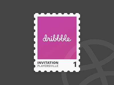 One Dribbble Invite draft day drafting illustration dribbble stamp player invite giveaway invite invitation draft