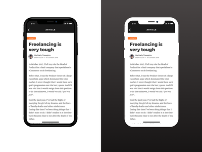 Article Black Or White iphone mobile ux flat simple clean dark design typograpgy minimal iphone x ios ux design app ui article article design article page