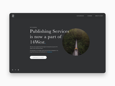 Landing Page for 14West typography negative space flat simple dark minimal clean ui ux home page moved 404 page website landing page design