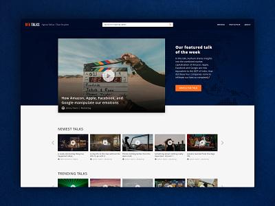 RFA Talks search bar talks video player flat dark video typography minimal clean ux ui design