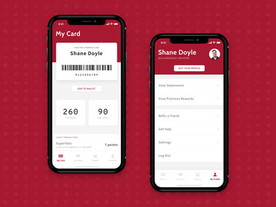 My Card and My Profile Screens settings rewards flat simple iphone x clean mobile minimal iphone app ios ui ux tab bar wallet points account profile barcode card