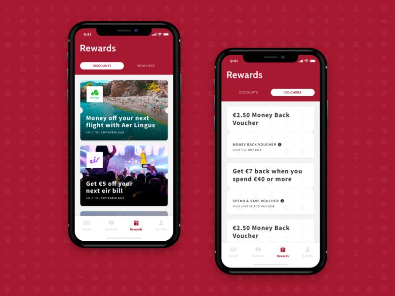 Rewards Screens reward money back gift design simple mobile iphone x iphone app ui ux ios disappear rewards vouchers discounts