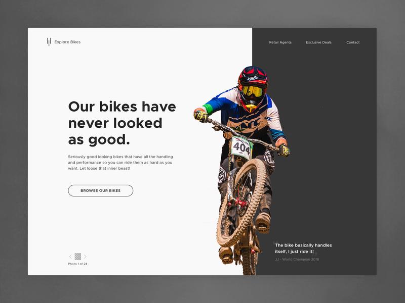 Biker Bikes Landing Page flat simple dark minimal design mountain bike clean hero landing landing page website ui ux bike bikes