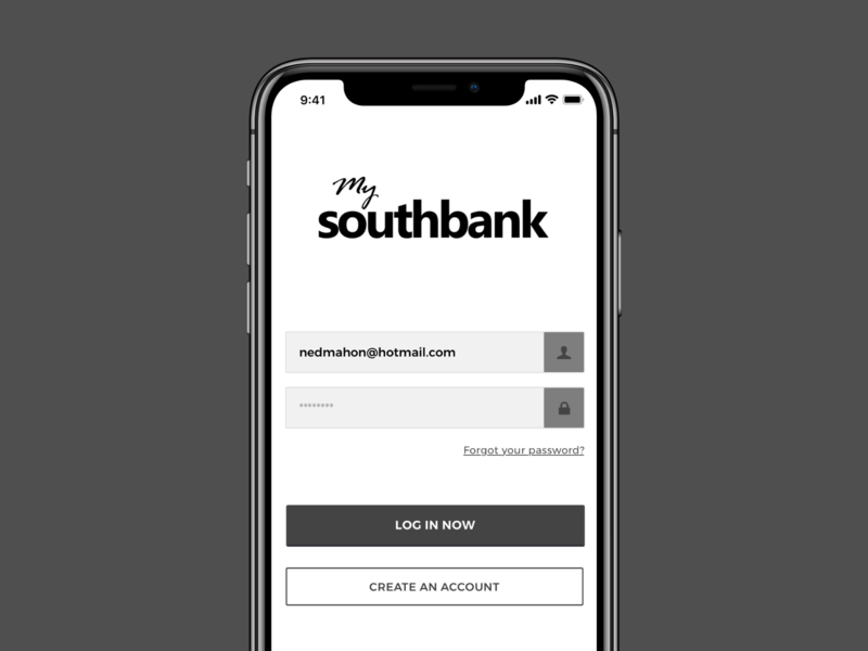 Southbank Sign In apps mobile ios 12 login iphone x ui ux ios app iphone log in sign up create account sign in