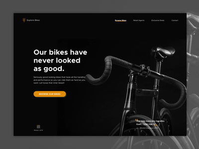 Road Bikes Landing Page website minimal flat bikes bike hero landing design hero design landing page dark clean simple design ui ux web  design