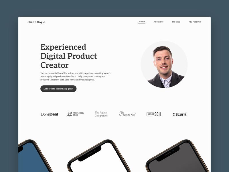 Portfolio Homepage font flat hero portfolio page website simple ui minimal portfolio design ux portfolio homepage design clean