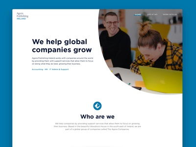 Homepage for Agora Publishing Ireland hero clean minimal simple site web flat design website ui ux