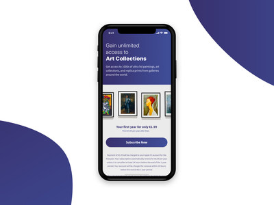 In App Purchasing in the Art Collectors App app design ios iphone subscription subscriptions purchase subscribe design flat iphone x minimal clean app mobile ux ui