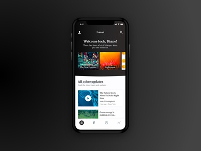 Latest Posts Screen tabs content latest dark flat simple clean design ui ux minimal mobile app ios app ios iphonex iphone mobile