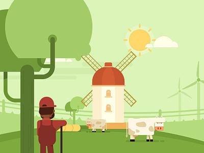 Cows @ Farm characters direction design artwork flat motion illustration