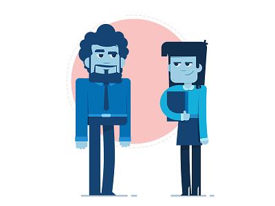 Couple characters direction design artwork flat motion illustration