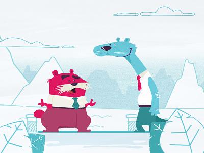 Deep Conversation graphics motion illustration flat animals design character