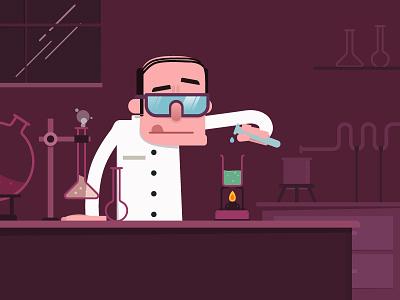 Science motion illustration flat direction design characters artwork