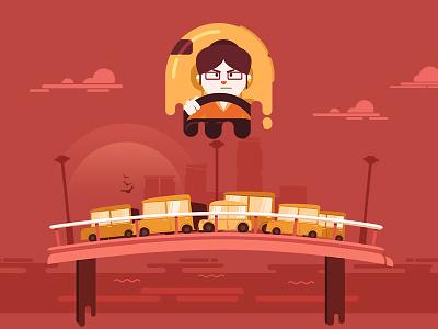 Traffic jam motion illustration flat direction design characters artwork