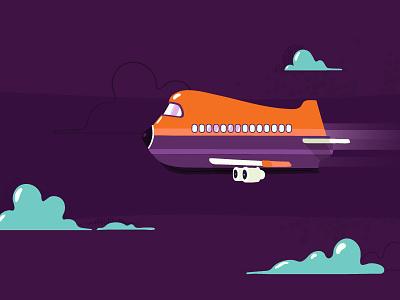 Air ship cartoon graphics motion illustration flat direction design characters artwork