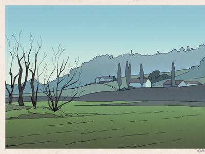 Field flat print style fields landscape illustration
