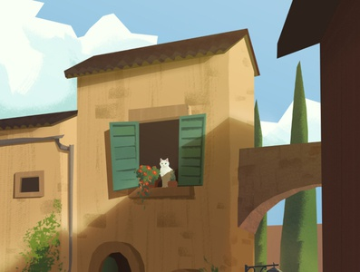 Italy architecture clean editorial illustrative photoshop graphic flat summer cat illustration cozy italy