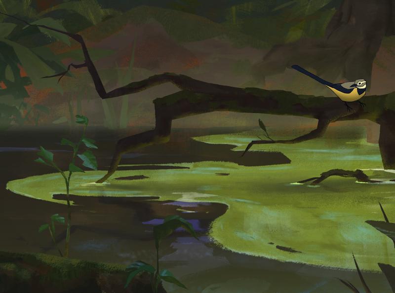 Wagtail painting serene lake wildlife nature birds ornithology wagtail background paint bird illustration bird
