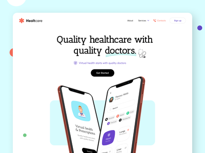 Virtual Health - Landing landingpage mobile health app health healthy heart pacient minimal web landing 3d pharmacy doctor healthcare virtual clinic selfcare sundaycrew design color