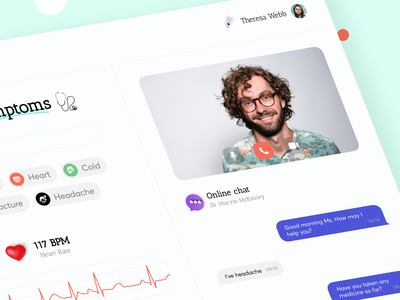 Virtual Healthcare - Dashboard medical healthy pharmacy hospital appointment medecine heartrate dashboard ui dashboard chat patient heart healthcare health app health doctor design color clinic 3d