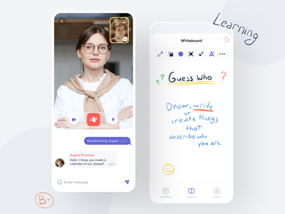 Online Learning - App learning platform english english school lessons video call call chat course language app education tools minimal mobile app learning app online whiteboard learning student teacher