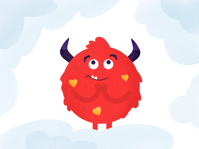 Valentine's Monster cloud sky red love kiss lovely monsters lovers heart artwork art procreate characterdesign character illustration valentines valentinesday