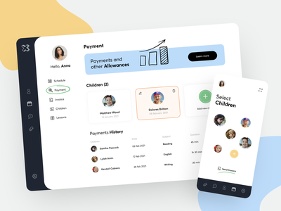 Online School-Q - Payment Dashboard banking course classroom teaching lesson learning send education schedule invoice payment mobile app mobile dashboard sundaycrew illustration online school children student teacher
