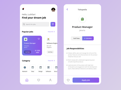Job Finder App - Exploration uxdesign ux uidesign ui modern mobile minimalist job finder job finder design clean app
