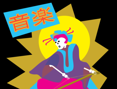 T-shirt design japanese skeleton illustration design