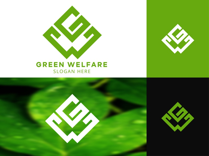 Letter G Letter W + Leaf Style Logo Design simple logo natural logodesign fresh nature letermarklogo lettermark monogram logo branding website green leaf leaf logo nature logo typography flat web logo design