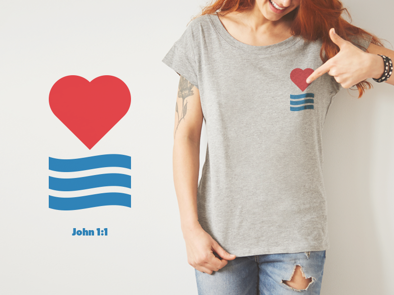 John 1:1 blue red love logo design t-shirt bible john1:1 word jesus wave heart