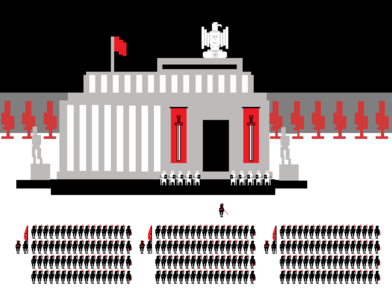 Red and Black pixelart illustration