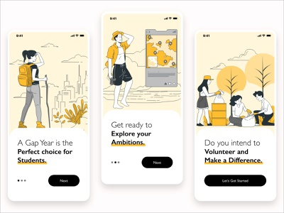 Gap Year Onboarding - Mobile App ios illustration ui design onboarding mobile app ux design
