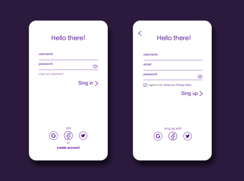 Sing up page flat app ui sing up login daily 100 challenge daily ui dailyui