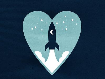 Daily Logo Challenge Day 7: Rocket heart space icon web illustration rocket branding logo daily logo challenge