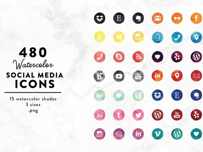 Social Media Icons - Watercolor edition watercolor icons watercolor clipart social media graphics design social buttons social app social media design icon ux ui watercolor social media icon social media icons icons