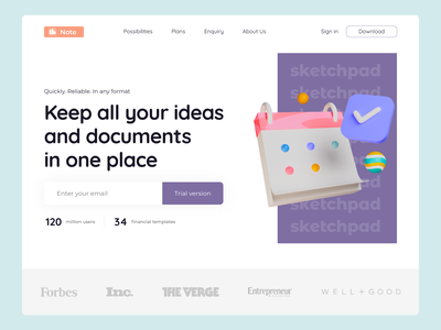 Landing page for creating notes and documents landing page 3d graphics websites landing web design typography