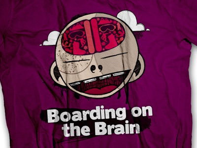 Neuro Shirt illustration pen ink paint illustrator snowboarding boarding t-shirt brain purple